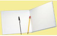 White hardcover blank book  6-1/8 x 8-3/8